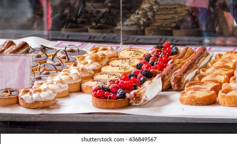 Cakes and pastries at local gourmet market stall.