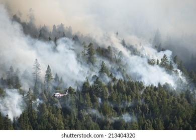 CAL FIRE fire fighters survey large wildfire, part of the Lodge Fire, California, from a helicopter. Mendocino County, circa 2014.