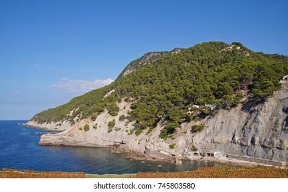 Cala Banyalbufar on the western side of the island of Majorca on a sunny day