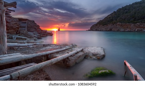 Cala Benirras at sunset , Ibiza , Spain