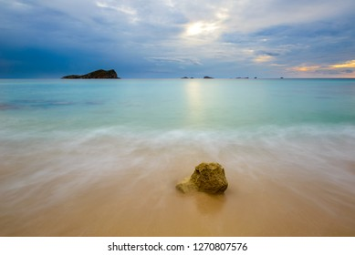 Cala Conta (Platges de Comte) at sunset, Ibiza, Spain