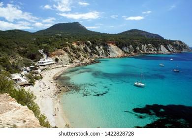 Cala d'Hort beach before the start of the swimming season. Ibiza Island Spain.