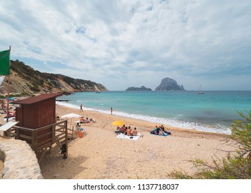 Cala D'hort beach, in Ibiza, Spain, on a stormy spring-summer day