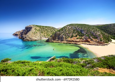 Cala Domestica beach, Sardinia, Italy. Sardinia is the second largest island in mediterranean sea.