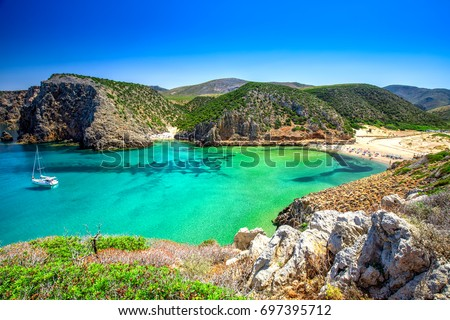 Cala Domestica Beach Sardinia Italy Sardinia Stockfoto Jetzt