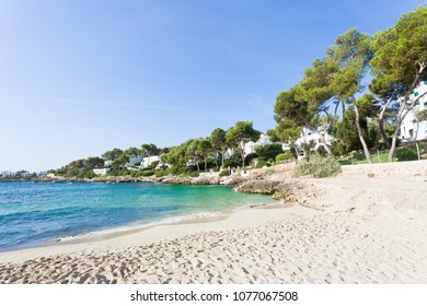 Cala d'Or, Mallorca, Spain - Footprints in the sand at the beach of Cala d'Or