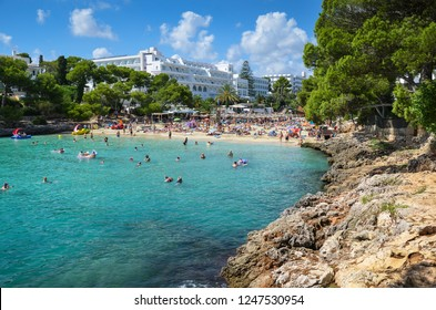 CALA D'OR, MALLORCA, SPAIN - SEPTEMBER 18 2017: Cala Gran beach on the Spanish island of Majorca.