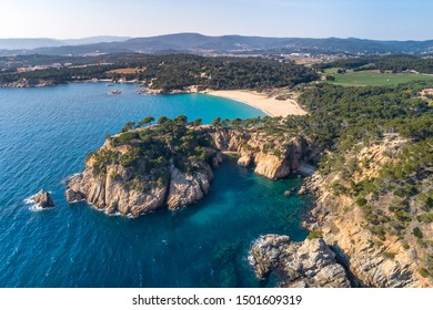 Cala Foradada and beach of Castell, in Palamos (Costa Brava, Catalonia, Spain) in view of drone
