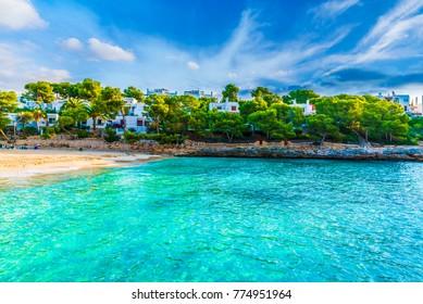Cala Gran beach at Cala d'Or city, Palma Mallorca Island, Spain