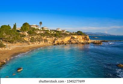 Cala La buena beach in El Perello beach of Tarragona at Costa dorada Catalonia