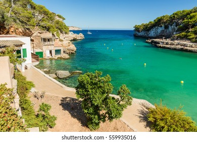 Cala Llombards. Beautiful beach that is sheltered on either side by cliffs. Mallorca island, Spain.