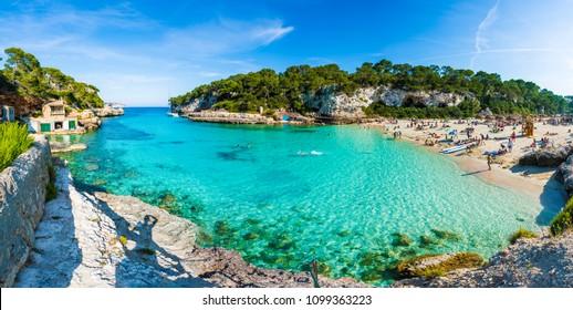 Cala Llombards, Palma de Mallorca, Spain - May 24, 2018: Amazing beach of Cala Llombards, Majorca island, Spain
