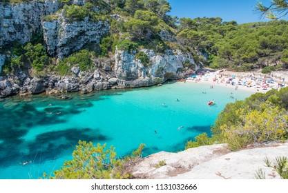 Cala Macarelleta beach in Menorca, Balearic Islands, Spain