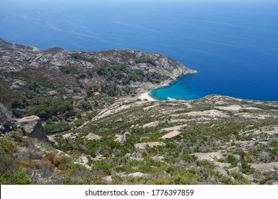 Cala Maestra beach at Island of Montecristo (formerly Oglasa) in the Tyrrhenian Sea part of the Tuscan Archipelago in Portoferraio, Italy