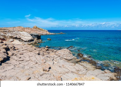 Cala Mica Creek on Minorca Island northern shore, Balearic Islands, Spain.