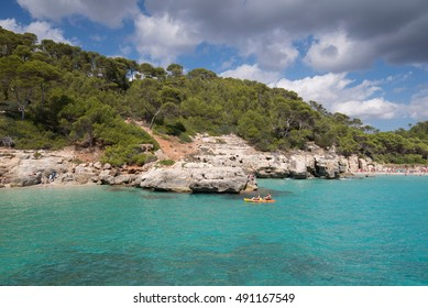 Cala mitjaneta and cala Mitjana in a sunny summer day, Menorca, Spain.