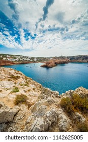 Cala Morell Creek on Minorca Island northern shore, Balearic Islands, Spain.