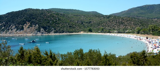 Cala Pira beach is in Sardinia near Villasimuis in the province of Cagliari. It is immersed in the scents of Mediterranean vegetation. The colors of the sea are a wonderful blue.