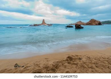 Cala Pregonda Creek on Minorca Island northern shore, Balearic Islands, Spain.