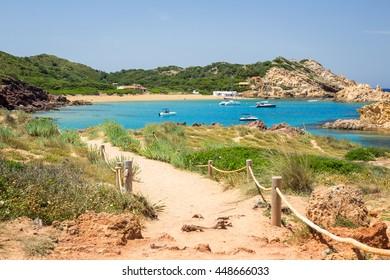 Cala Pregonda, Menorca, Spain. Hiking trail to a wonderful, small beach.