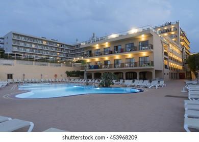Cala Ratjada beach by dusk on June 26, 2016  in Majorca island Spain