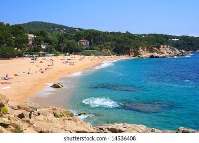 Cala Rovira beach in Platja d'Aro, a well known tourist destination (Costa Brava, Catalonia, Spain)