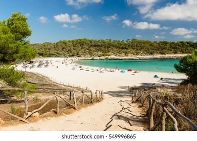 Cala S'Amarador. Beach is one of two beautiful beaches in Mondrago Natural Park on the south eastern coast of Mallorca. Mallorca island, Spain.