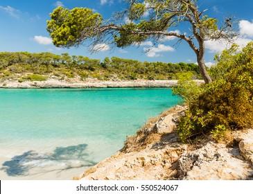 Cala S'Amarador. Beach is one of two beautiful beaches in Mondrago Natural Park on the south eastern coast of Mallorca. Mallorca island, Spain.