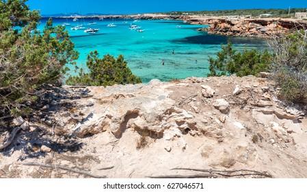 Cala Saona beach in Formentera, Spain.