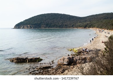 Cala Violina beach Scarlino, Maremma Tuscany, Italy - circa April 2019 - Tranquil scene at sunset