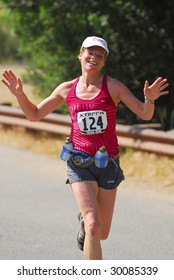 CALABASAS, CA - May 9, 2009: Christina Floegel of Beverly Hills competes in the XTERRA Trail Race in Malibu Creek State park on May 9, 2009 in Calabasas, CA.
