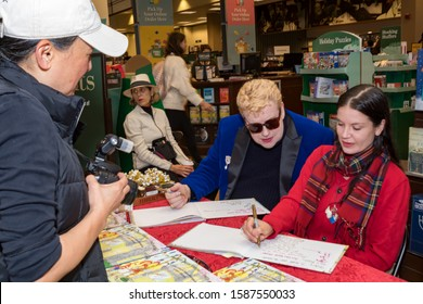 """CALABASAS, CALIFORNIA, USA - DECEMBER 7, 2019: """"The Wondrously Magical Adventures of Penelope and Rosco"""" book signing by the authors and illustrator at Barnes and Noble bookstore."""