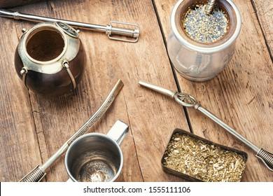 Calabash and bombilla with yerba mate.Traditional yerba mate tea
