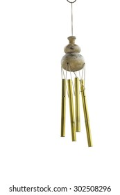 the calabash wind chimes on white background