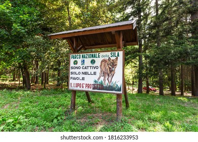 Calabria, Italy. 2020 Sila National Park, sign the wolf is protected.