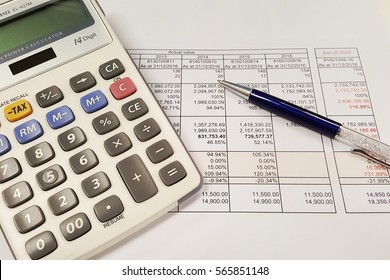 calaculator and pen on business background