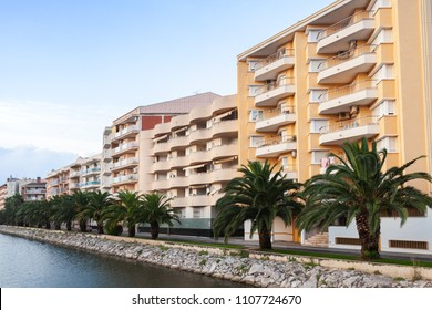 Calafell, Spain - August 13, 2014: Street view of Calafell town at morning. Living houses stand along river coast. Tarragona region, Catalonia, Spain