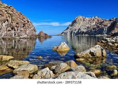 Calafico bay in San Pietro island, Sardinia, Italy