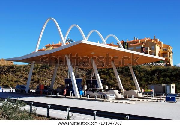 Calahonda, Spain - January 21, 2009 - Toll plaza, Calahonda, Costa del Sol, Malaga Province, Andalusia, Spain, Western Europe, January 21, 2009.