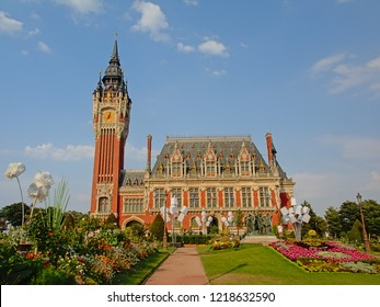 CALAIS, FRANCE, JULY 27, 2018, City hall and belfry in neo-Flemish style, desinged by by the architect Louis Debrouwer. Calais, 27 July 2018