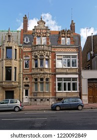 CALAIS, FRANCE, JULY 28, 2018, Historical decorated house in Flemish renaissance or baroque style in a street in Calais,28 July 2018