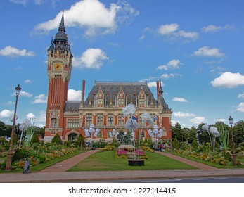 CALAIS, FRANCE, JULY 28, 2018,  City hall and belfrey of Calais, in neo-Flemish style, desinged by by the architect Louis Debrouwer.  Calais, 28 July 2018