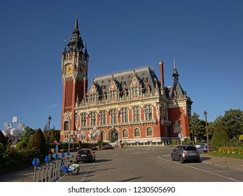 CALAIS, FRANCE, JULY 28, 2018, City hall and belfrey in neo Flemish enaissance style, desinged by by the architect Louis Debrouwer. Calais, 28 July 2018