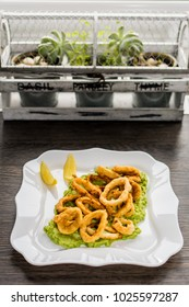 Calamari rings with guacamole sauce