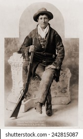 Calamity Jane (1852-1903), was a scout for Indian fighter, General Crook. She gained fame in the 1870s and later toured in Wild West shows. Ca. 1985.