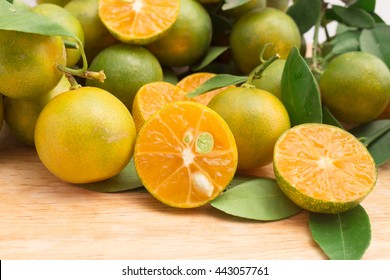 calamondin citrus on wooden board