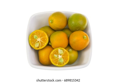 Calamondin, also known as calamansi or Citrofortunella microcarpa, is a plant and fruit of the citrus family which resembles a small, round lime