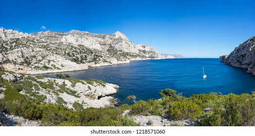The Calanque de Morgiou, one of the biggest calanques located between Marseille and Cassis, France