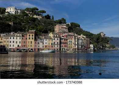 Calata Marconi with its colorful houses. Typical view of Portofino, famous ligurian village