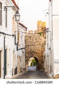 Calcada da Frandina street leading to the Porta do Sol (Sun Door) in the castle of Estremoz in Portugal.